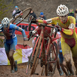 Highly Competitive ! by Marco Bertamé - Sports & Fitness Cycling ( 49, work, pushing, number, yellow, 39, race, luxembourg, bicycle, muddy, uphill, mud, red, blue, strong, uci, brown, men, hard, world, champioships, bieles )
