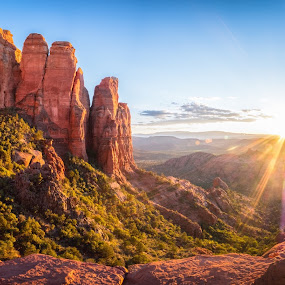 Sunset on Cathedral Rock by Patrick Miyoshi - Landscapes Sunsets & Sunrises ( sunset landscape arizona sedona desertscape )
