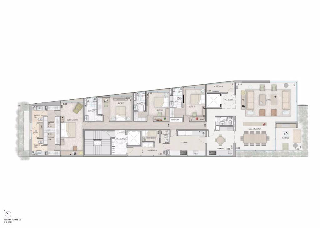 Planta Tipo - 4 Suítes - 315 m²