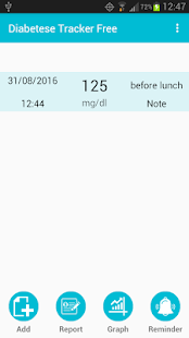 Diabetes Tracker Free screenshot for Android