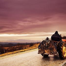 The Storm by Srdjan Radakovic - Transportation Other ( skyline, mountains, storm, landscape, tractor )