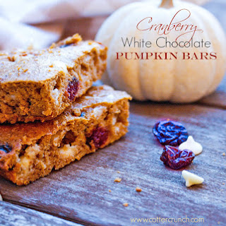 Cranberry White Chocolate Pumpkin Bars {Gluten Free}