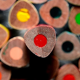 Red Pencil shining alone.. by Sanjeev Kumar - Artistic Objects Education Objects