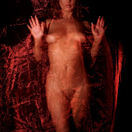 Pushing Forward by DJ Cockburn - Nudes & Boudoir Artistic Nude ( red, off camera flash, standing, woman, white, art nude, full length, home shoot, caucasian, topless, sheer, model )
