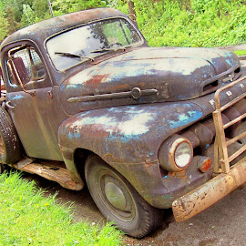 THE OLD F3 by William Thielen - Novices Only Objects & Still Life ( old, pickup, truck, worn, farm, urban, patina, blue, seattle, ford, f3, rust, wear, classic, black )