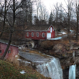 Decew Falls & Morningstar Mill by Nick Goetz - Buildings & Architecture Public & Historical ( decew falls, decew, morningstar mill, water fall, early spring )