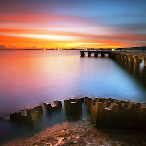 Pier Of Tenau #4 by Aris Winahyu BR - Landscapes Waterscapes ( waterscape, sunset, pier )