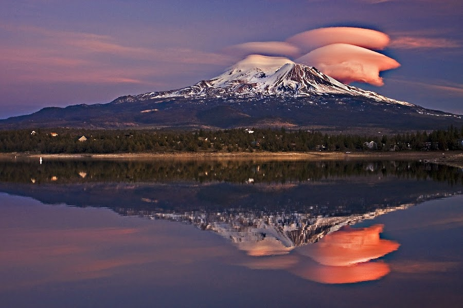 ~ Feel... Think... Dream... ~ by LaWanda Wilson - Landscapes Mountains & Hills ( lenticulars, siskiyou county, clouds, reflection, mountain, northern california, mt shasta, lakes, reflections, lake, mount shasta, northern california mountains, cascade mountain range, mountains, winter, volcano, lake reflections, westerncaptures.com, western captures photography, snow, northern california lakes, volcanoes, lenticular clouds )