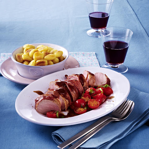 Pork Tenderloin with Gnocchi and Sautéed Tomatoes