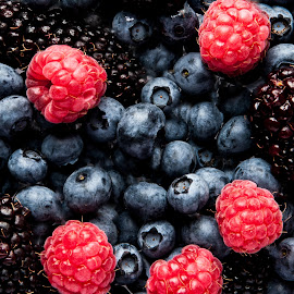 Fruies Of The Field by Russell Mander - Food & Drink Fruits & Vegetables ( red, rasberry, blackberries, black, colours )