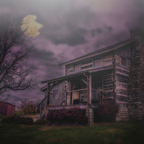 Haunted Old Cabin by Mike Svach - Public Holidays Halloween ( scary, moon, dark, night, haunted )
