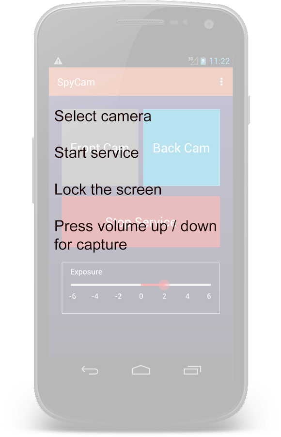 Spy Cam using Volume Button Screenshot 1
