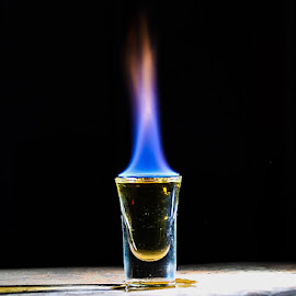 Flaming Gold by Michael Hoek - Food & Drink Alcohol & Drinks ( alcohol, long exposure, shot, flaming shot, fire )