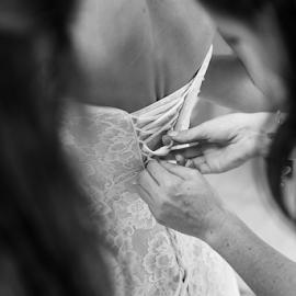 Getting dressed by Lood Goosen (LWG Photo) - Wedding Getting Ready ( wedding photography, wedding photographers, wedding day, brides, wedding dress, getting ready, bridegroom, bride and groom, bride )