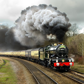 King Edward  by Dave Hayward - Transportation Trains ( carriage, tracks, working, king edward, steam )