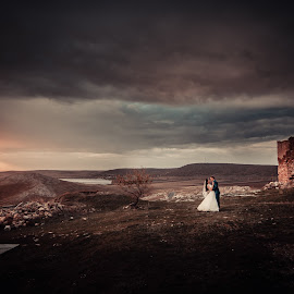 morning by Doru Iachim - Wedding Bride & Groom ( love, kiss, cold, color, wedding, bride, storm, groom, rain )