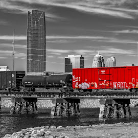 Touch of Red by Doug Long - Digital Art Places ( tank car, water, freight train, red, color, black and white, cars, train trussel, box cars, freight, train, bridge, river )