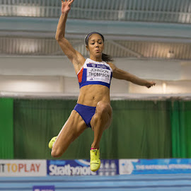 by Ron Russell - Sports & Fitness Running ( flight, female heptathlete, distance, winning, practise, height, strength, effort )