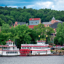 St. Croix Riverboats by Gary Hanson - Transportation Boats ( minnesota, docked, stillwater, weddings, st. croix, town, riverboats )