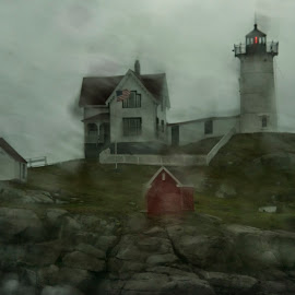 Nubble Lighthouse by Gloria Matyszyk - Landscapes Weather ( wind, maine, lighthouse, york, nubble lighthouse, coastal, usa, rain, cape neddick )