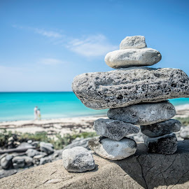 Inukshuk at sea by Dominic Thibeault - Nature Up Close Rock & Stone ( sky, inukshuk, sea, beach, cuba )