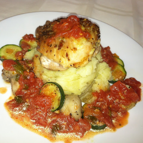 Roasted Chicken with Garlic Mashed Potatoes, Mushroom and Zucchini Tomato Sauce