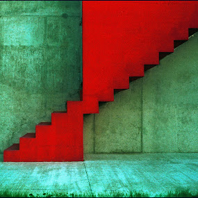 Stairs (by the sunset) by Boris Voglar - Abstract Fine Art ( abstract, red, stairs, green, colors, slovenia, minimalism, firestairs, architecture, surreal, ptuj, wall )
