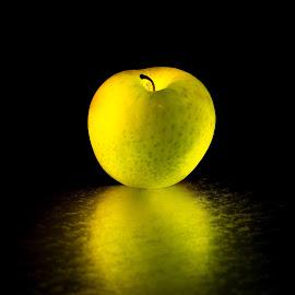 Glowing Apple by Erik Bosman - Food & Drink Fruits & Vegetables ( #reflection, #creative lighting, #glowing, #green, #glow, #artistic, #fruite )