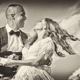 by Sasa Rajic Wedding Photography - Wedding Bride & Groom ( wedding photography, wedding photographer, bride and groom, weddings, wedding day, wedding, black and white )