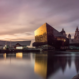Liverpool at sunset.  by Steve Leonard - Buildings & Architecture Public & Historical ( liver building, mann island, sunset, liverpool, liverpool waterfront )