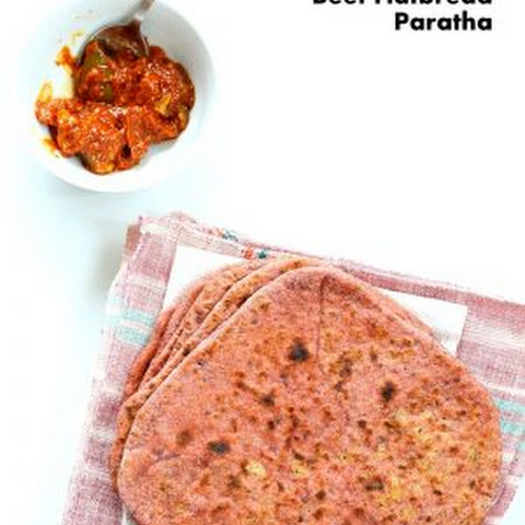 Beetroot Paratha - Beet flatbread Stuffed with Split Peas