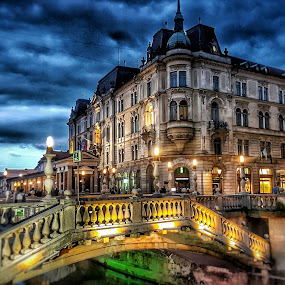 Ljubljana Tree Bridges by Andreja Svenšek - City,  Street & Park  Historic Districts ( clouds, face, home, building, ljubljana, architecture, travel, slovenia, bridge, light, darkness, travel photography, gloomy,  )