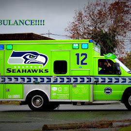 Fanbulance Responds To Another Rally by Becky Luschei - Transportation Automobiles ( rally, responds, fanbulance, seattle seahawks, vehicle, called )