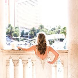 bride on balcony by Lucas Strawhorn - Wedding Bride ( high key, wedding, white, bride, wedding bride )
