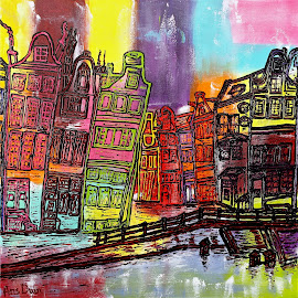 Amsterdam, de Jordaan in the centre of the City. by Ans Duin - Painting All Painting ( water, canals, houses, de jordaan, ans duin, cities, amsterdam, landscapes, painting )