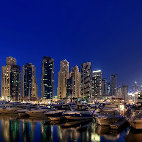 Boats and Buildings by Andrew Madali - Landscapes Waterscapes