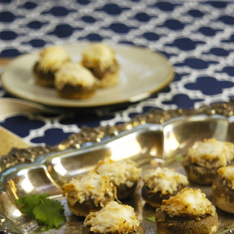 Crab Stuffed Mushrooms with Miso and Caramelized Onions