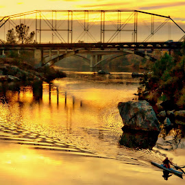 Folsom Bridge by Brian Blood - Buildings & Architecture Bridges & Suspended Structures ( american, bridge, kayak, river, folsom )