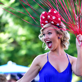 Having Fun by Garry Dosa - People Street & Candids ( parade, red, female, blue, happy, woman, disneyland, smiling )