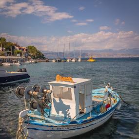 Fishing boat by Nikos Diavatis - Transportation Boats ( blue sea, greece, corfu, boat, crear water, fishing boat )