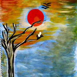 Bird's world by Nitisha Nitti - Painting All Painting ( skyline, trees, sunshine, landscape, birds, world )