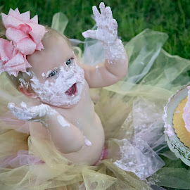 Happiness by Carole Brown - Babies & Children Babies ( tutu, cake smash, hazel eyes, brown hair, pink cake )