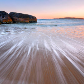 The Splash by Geoffrey Wols - Landscapes Beaches ( south west rocks, dawn, splash, sunset, sunrise, beach, rocks, whitewater )