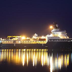 Offshore ship in Esbjerg harbour by Per Holt Oksen-Larsen - Transportation Boats ( ship at night,  )