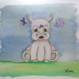 Baby Rhino by Paula Moore - Painting All Painting ( butterfly, watercolor, baby, painting, rhino, animal )