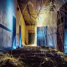 Steel wool by Trey Walker - Novices Only Objects & Still Life ( steel wool, blue, yellow, colours, abandoned )