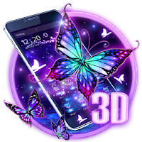 3D Purple Butterfly Theme For PC / Windows / MAC