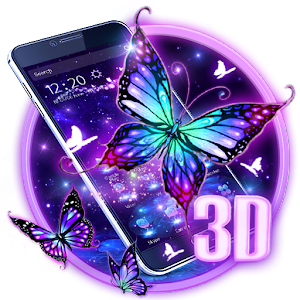 3D Purple Butterfly Theme For PC