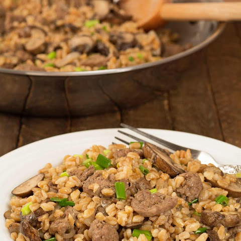 Farro with Sausage, Mushrooms and Shallots