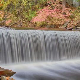 Waterfall in fall by Debbie Quick - Landscapes Waterscapes ( hyde park, debbie quick, water, new york, debs creative images, flowing, vanderbilt mansion national historic site, foliage, fall, creek, waterscape, waterfall, ribbon like, autumn, flowy, dutchess county, hudson valley, flow, landscape,  )